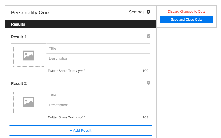 Creating quiz results.