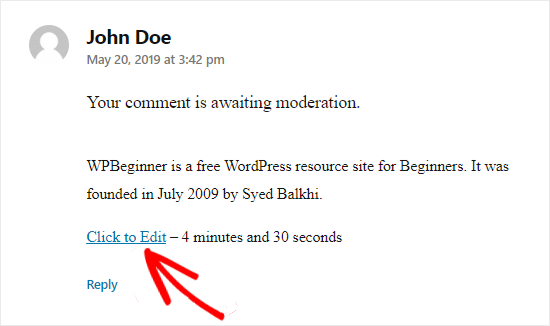 WordPress comment click to edit option