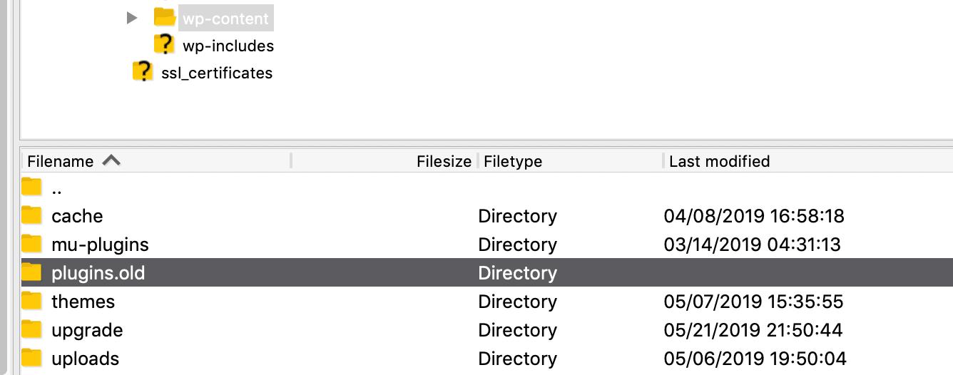 WordPress plugins folder renamed