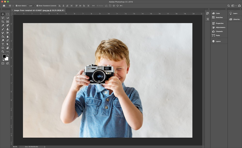 Remove the white background from a photo with the quick selection tool
