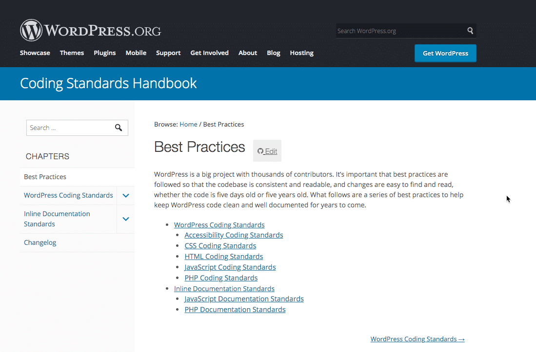 WordPress coding standards handbook