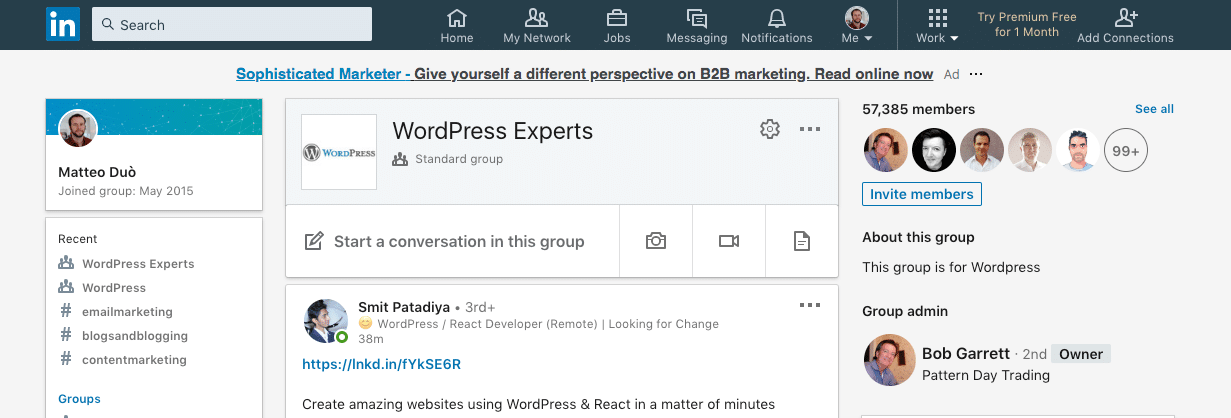 WordPress experts LinkedIn group