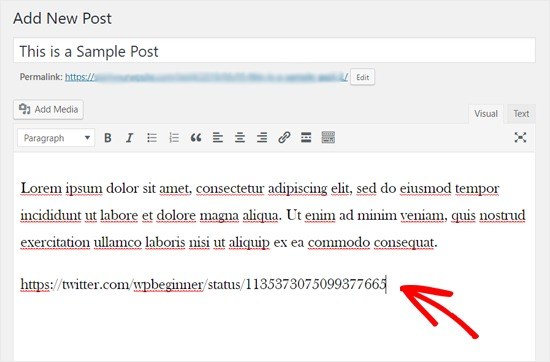 Add Twitter URL in Classic WordPress Editor