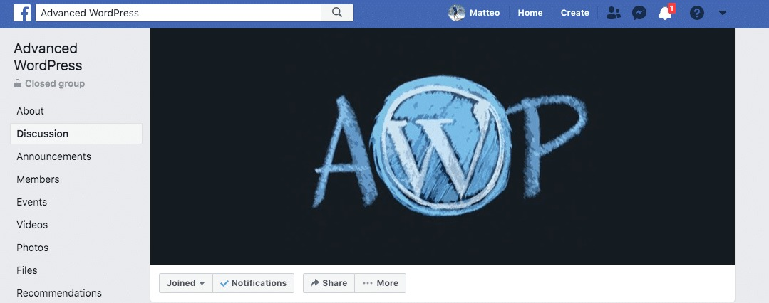 Advanced WP group on Facebook