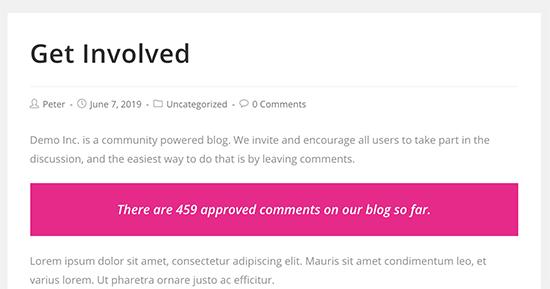 Comment count displayed in a WordPress post