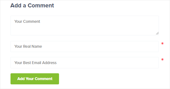 Comment form without website URL field
