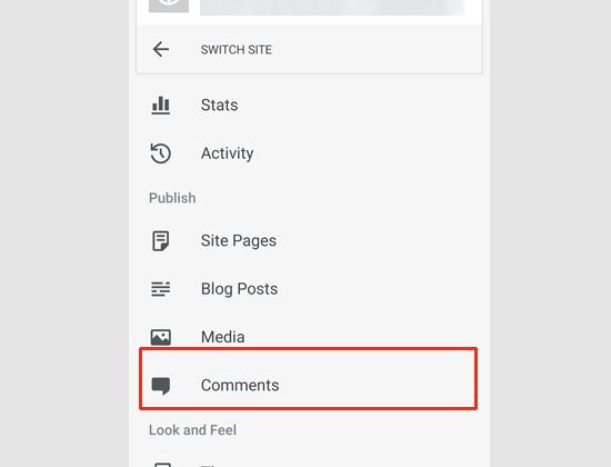 Managing comments via WordPress app