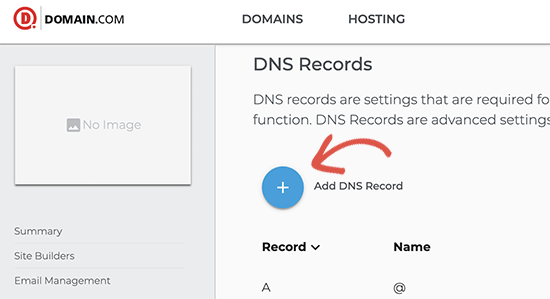 Editing DNS settings for your domain name