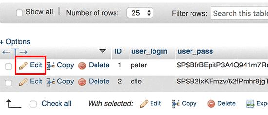 Edit user account in phpMyAdmin