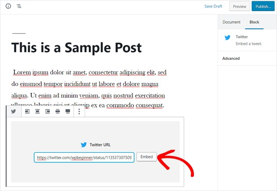 Embed Twitter in WordPress Post Editor