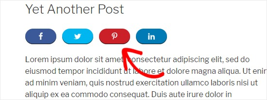 Pinterest button added to WordPress post