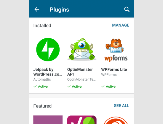 Managing plugins via WordPress app