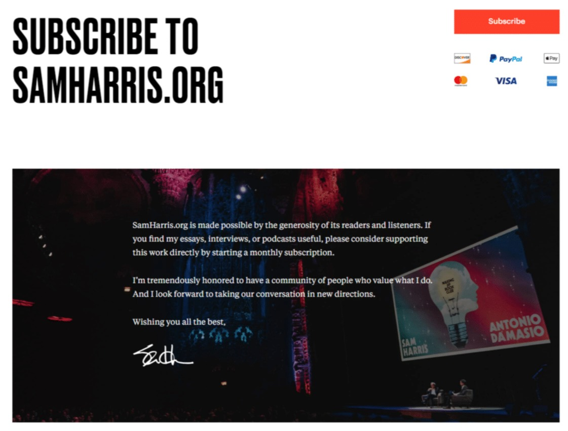 Sam Harris' website