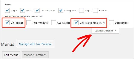 Screen Options navigation menus
