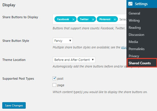 Shared Counts settings page