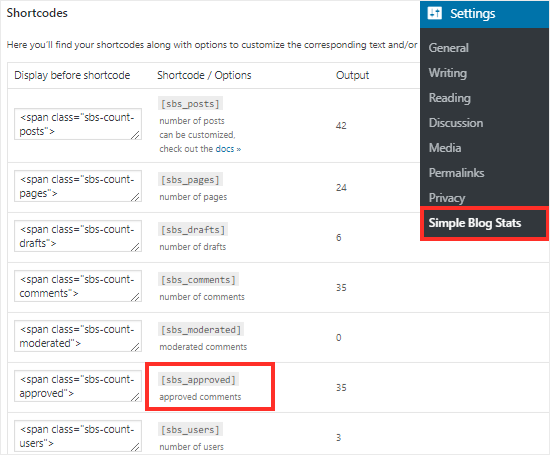 Simple Blog Stats Plugin settings page