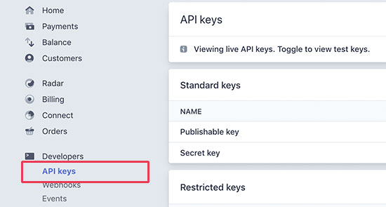 Stripe API keys