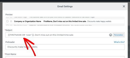 Subject Line Personalized in Constant Contact Email Blast