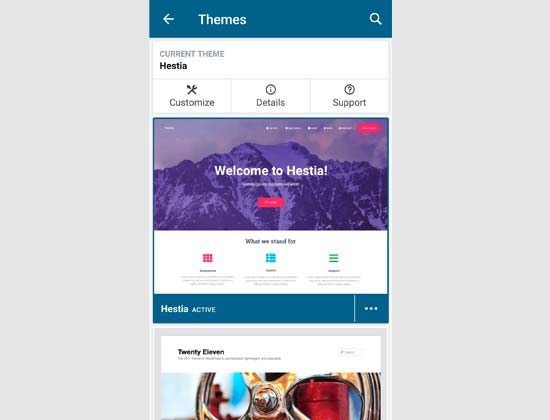 Managing WordPress themes via the app