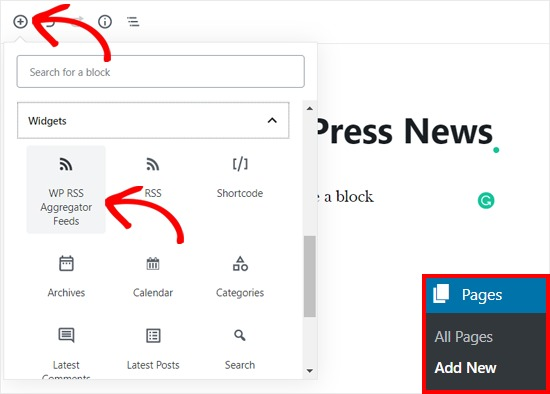 Add WP RSS Aggregator Block in WordPress Page