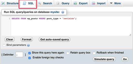 Deleting revision via MySQL