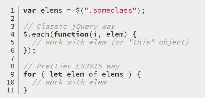 For...of Loops in jQuery 3