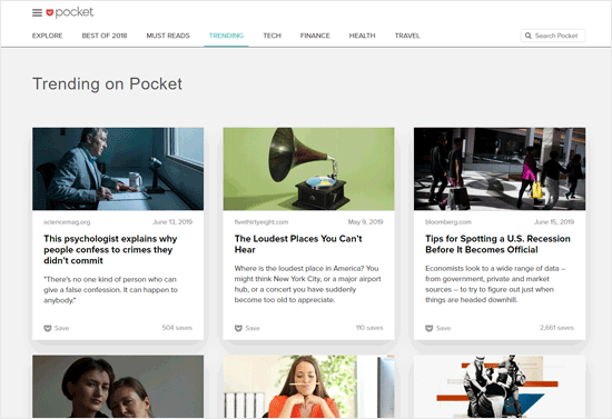 Pocket News Aggregator Website