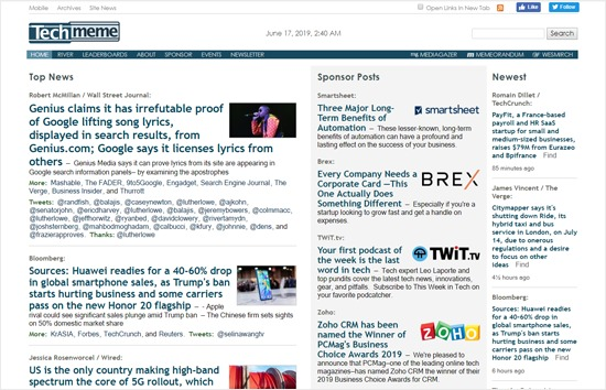 Techmeme Tech News Aggregator