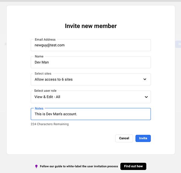 Where you invite a new member.