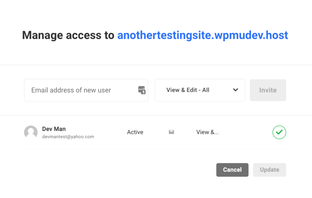 Who has access to a site and their roles.