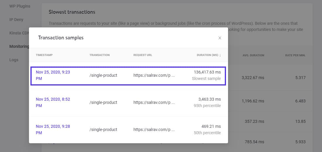 Transaction samples for the individual product page requests