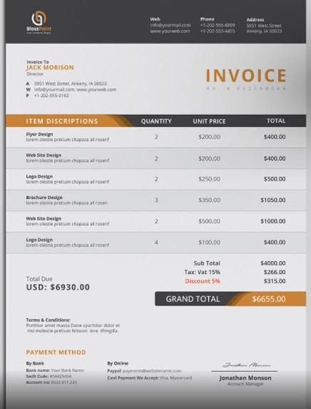 Classic Design Invoice Template