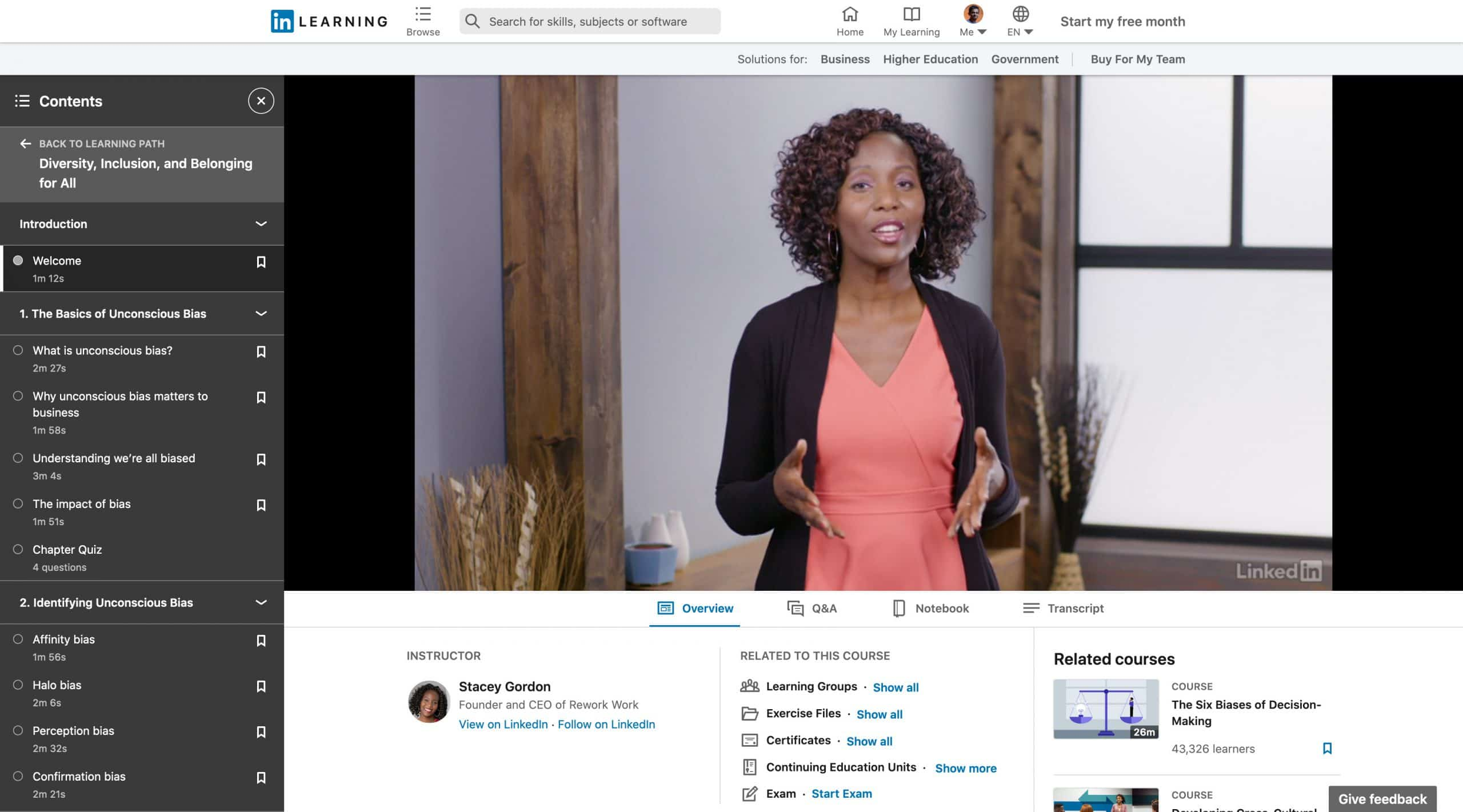 LinkedIn Course Offering