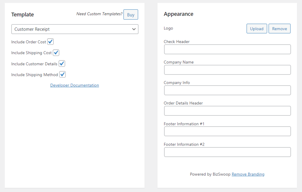 Adding custom information.