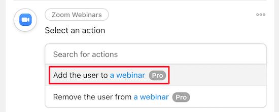 Select add user to webinar