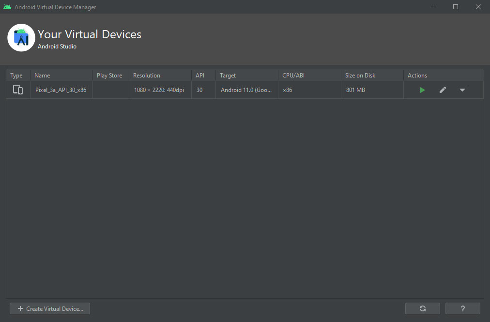 android virtual device manager