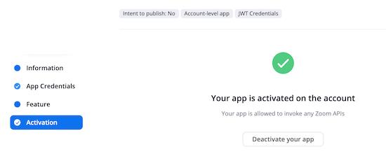 App activation success