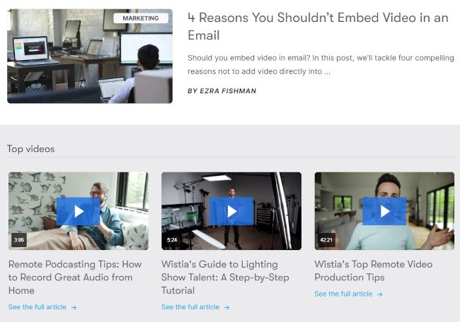 AIDA Attracting Attention Example: Wistia's Learning Center With Blogs and Video
