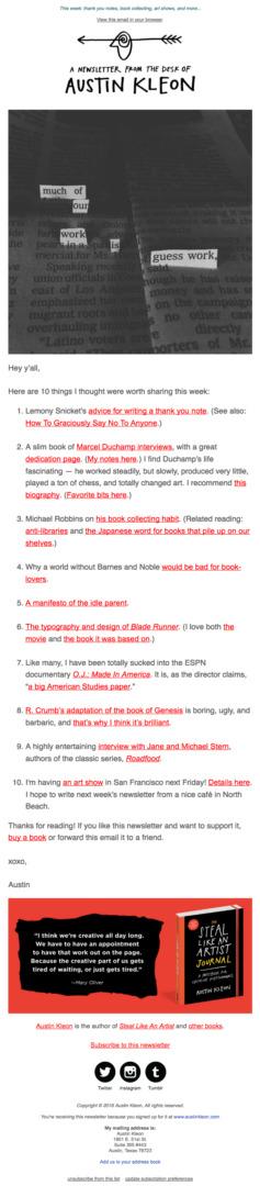 Email Newsletter Example: Austin Kleon