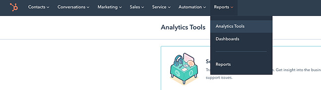 Drop-down menu in CMS Hub leading to the analytics dashboard