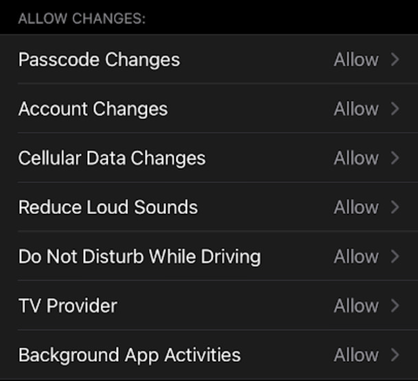 disable changes to device