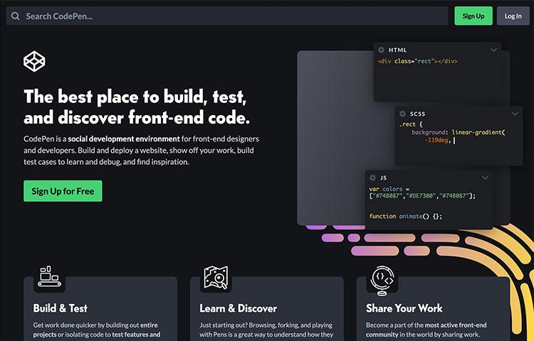 CodePen website homepage