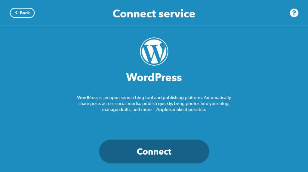 connect wordpress to ifttt