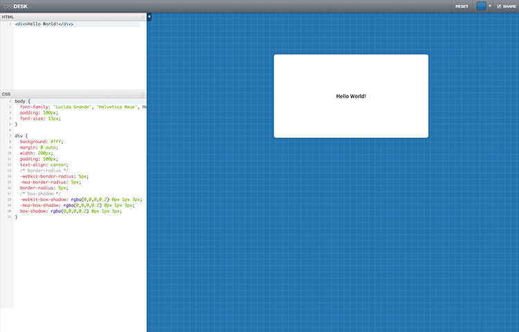 CSS3 coding on CSSDesk web application