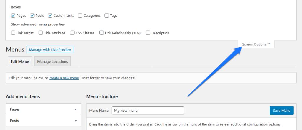 customize wordpress navigation menu via screen options