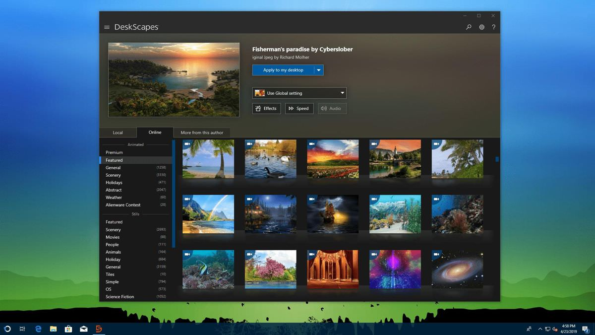 DeskScapes offers themes and wallpapers