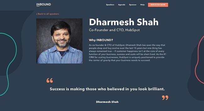 Darmesh Shah's professional background on the INBOUND website