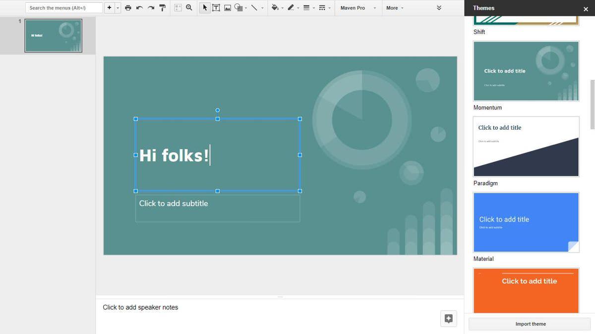 Editing dashboard of Google Slides