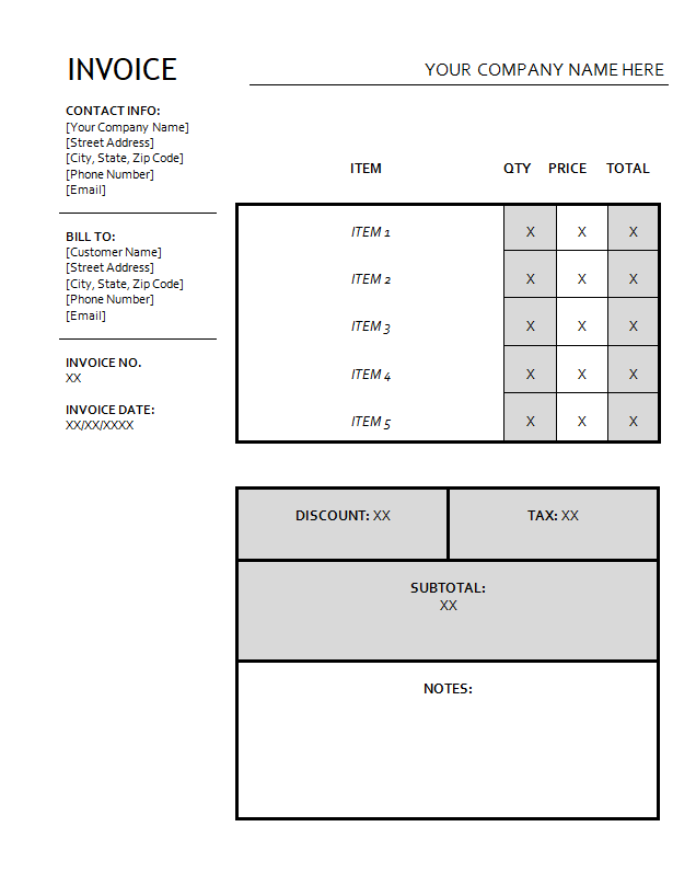 Black and White Shipping Invoice