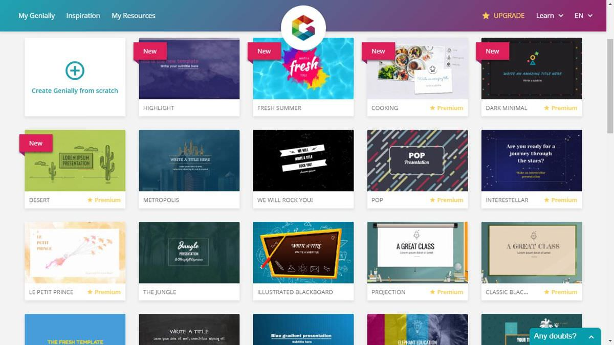 Genially offers numerous templates